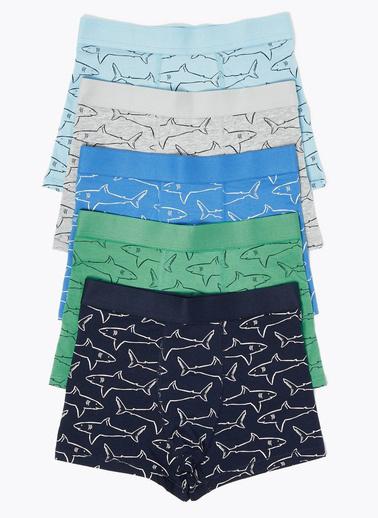 Marks & Spencer 5'li Köpek Balığı Desenli Trunk Seti Gri
